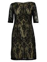 Studio One Women's Lace Back Zipper Dress (6, Black)