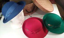 Lot of 3 Vintage Women's Fedoras  & Hat Box Geo. W. Bollman & Co. Doeskin Felt