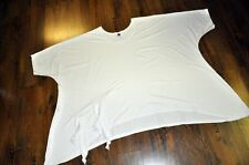 Layered Look Bogen-Big-Ballon-Tunika-Shirt Knoten-Bänder White XXL, XXXL, XXXXL