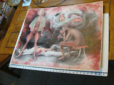 Vintage art by ROBERT MOIR in pen: NUDE WOMAN KILL AND EAT MAN, wow SIGNED