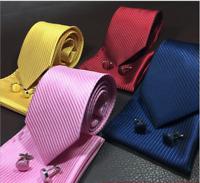 Men's Silky Swirl Jacquard Woven Striped Tie + Pocket Square + Cufflinks Set UK