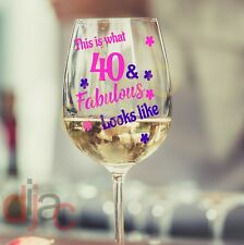 40 AND FABULOUS BIRTHDAY VINYL DECALS STICKERS for WINE GLASS