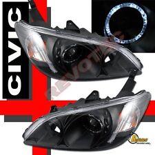 04 05 Honda Civic 2Dr 4Dr Coupe Sedan Black Halo Angel Eye Projector Headlights