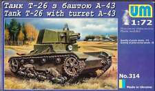 1/72  WWII T-26 Soviet tank with turret A-43 UMMT314 Models kits