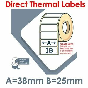38mm x 25mm TOP COATED Direct Thermal Labels, 2,580 per roll for small printers