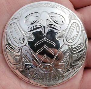 Northwest Coast Native Art (Haida) Sterling Silver Eagle Pendant