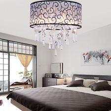 Elegant Crystal Drum Shade Ceiling Fixture Metal Lamp Chandelier Lighting Lights