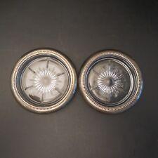 Lot de 2 sous-verres art-déco art nouveau en verre métal plaqué argent Italie