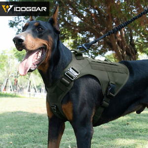 IDOGEAR Tactical Dog Vest Dog Harness w/ Handle MOLLE Padded 1000D Nylon Army