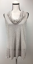 Pleione Knit Blouse Women's Size XL Back Slit Stripe Sleeveless Cowl Neck J741