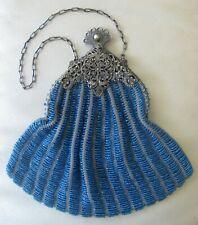 Antique Silver Floral Filigree Frame Hand Knit Aqua Blue Bead Flapper Purse