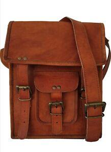 New Fair Trade Artisan Vintage Tan Goat Leather Small Satchel Shoulder Boho Bag