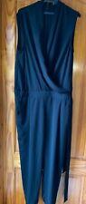 River Island Jumpsuit Size 12 Sleeveless Black Pockets & Belt