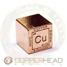 """1"""" Inch (5 oz) Copper Bullion Cube Element Design .999 Fine Square Bar"""