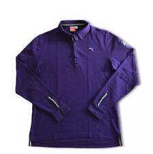Puma Sport Lifestyle Men's Large L Logo Long Sleeve Polo Purple Shirt Rugby