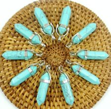 Wholesale Turquoise Hexagonal Point Pendant Gemstone Jewelry Necklace 10PC