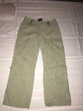 Ralph Lauren Girls Light Green Linen Roll Up Pants Capris Size 7