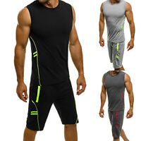 Men's Sport Tracksuit Casual Jogging Training Gym Sleeveless Tops + Short Pants