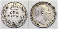 GB: 1910 Edward VII Silver Sixpence VF+ Condition  (KA211)