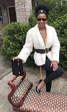 Designer Classy soft Cream white Mink Fur coat jacket Stroller Bolero S-M 0-8/10