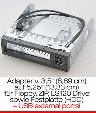 """FSC RAHMEN ADAPTER VON 3,5"""" (8,89cm) -> 5,25"""" (13,33cm) MIT 2x USB ADAPTOR BLACK"""