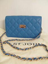 NEW ST JOHN KNIT WOMENS SKY BLUE QUILTED LOGO CHAIN SHOULDER BAG LEATHER PURSE