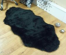 Black Faux Fur Double Sheepskin Style Rug 70 x 140cm Washable