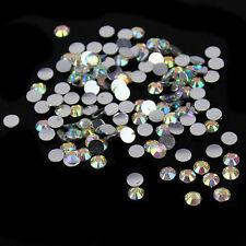 1000Pcs Nail Art Crystal AB 14 Facets Resin Round Rhinestone Beads Flatback 4mm
