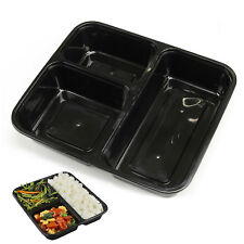 10pcs 3 Compartment Lunch Box Food Storage Container Microwave Safe & Lids