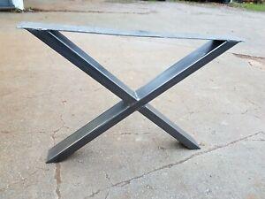 SINGLE 'X' DESIGN RETRO INDUSTRIAL STEEL METAL TABLE COFFEE BENCH LEG DESK