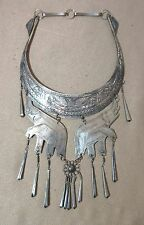 antique handmade tooled engraved ornate silver plate elephant bib necklace lady