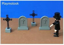Lot 4 Tombstones Gravestones Pierres Tombales West Medieval Playmobil Included