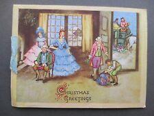 Vintage CHRISTMAS Card Regency Interior Crinoline Ladies Coachman Snowy Scene