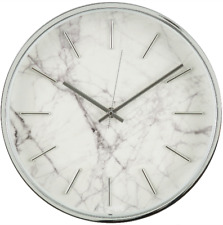 Wall Clock Marble Pattern Design Style Art White Modern Large Home Decor Luxury