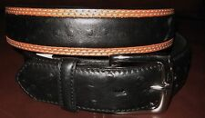 3D LEATHER  MENS WESTERN BELT OSTRICH STAMPED BLACK/TAN RODEO CUTTING REINING 38