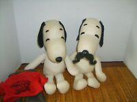 2 Peanuts Rare Vintage SNOOPY PLUSH Cartoon Figure
