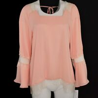 NY Collection Womens Lace Trimmed Bell Sleeve Silky Top Size Medium Peach NWT