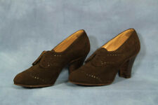 VTG 50s 60s Brown Suede Shoes Booties Ankle Boots High Heels Oxford Shoe 5.5 - 6