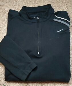 NIKE FITDRY-Black/Gray Perform.Poly, Mens LS, Fitness/Running Pullover-(L)
