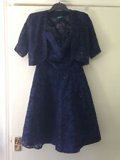 Ladies Strap Dress Size 12, Navy Blue Dress With Bolero. Party/Special Occasion