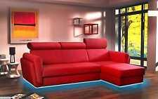 Wohnlandschaft Couch Polster Textil Stoff Leder Sitz Garnitur Eck Schlafsofa Pan