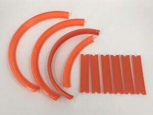 Lot of 10 Hot Wheels Track Builder System Orange Tracks 4 Curves, 6 Straight