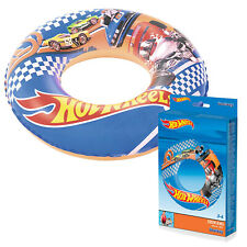 "Bestway Hot Wheels Kids Swim Ring Float 22"" Pool Inflatable Boys Girls Holiday"