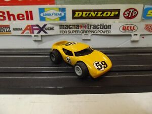 AURORA / AFX YELLOW #59 TJET COBRA With TJET OPEN RIVIT CHASSIS RARE-VINTAGE!