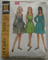 Vintage Dress Sewing Pattern*McCalls 9224*Size 12*CUT*shirred midriff*70s*retro