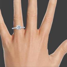 F/Si2 Round Cut Diamond Engagement Ring 1.11 Ct 18K White Gold Classic
