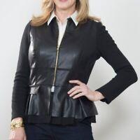 Chico's Black Leather Jacket Zip Up Peplum Long Sleeve Layer Womens Sz 2/Large L
