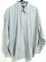 Façonnable Mens Size XL Blue White Multicolor Plaid Cotton Button Up Dress Shirt