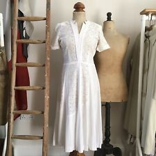 "True Vintage 1940s USA White Lace Cotton Dress UK8 10 W27"""