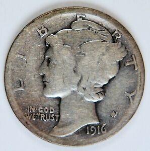 1916 D 10C WINGED LIBERTY MERCURY DIME *MD001